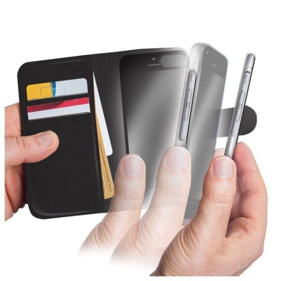 CELLY iPhone 6 / 6S Musta kuori + lompakko + suojakalvo 3