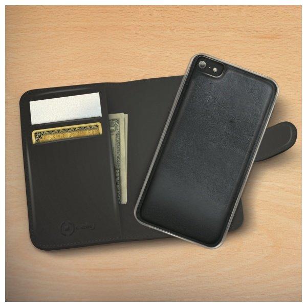 CELLY iPhone 6 / 6S Musta kuori + lompakko + suojakalvo 2
