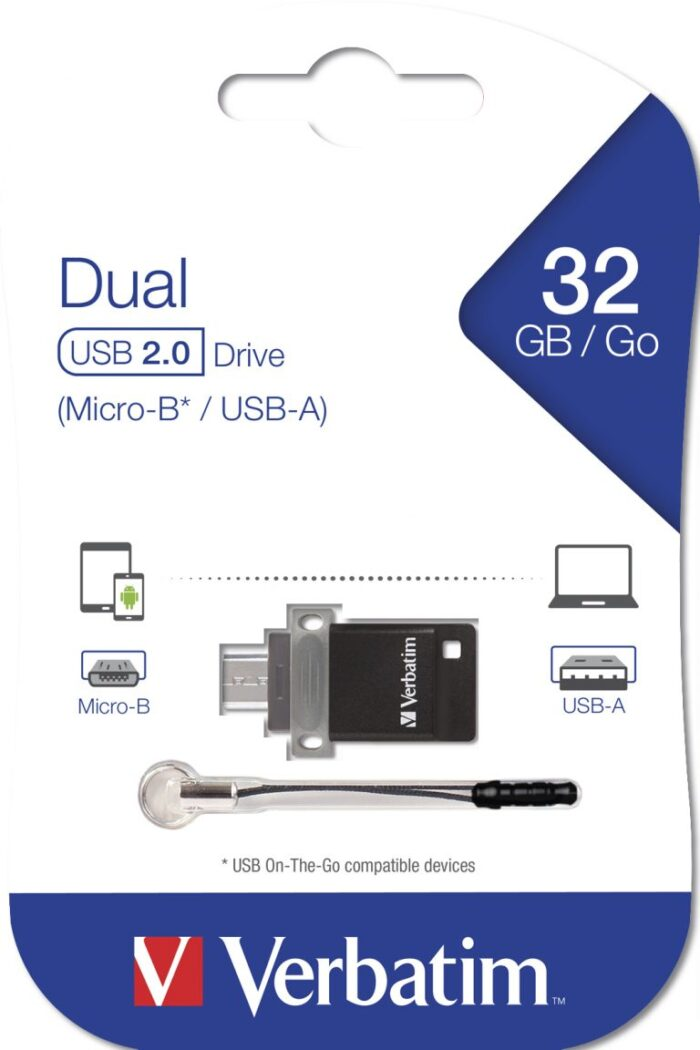 Verbatim Dual USB-A / MicroUSB muistitikku 32GB 2