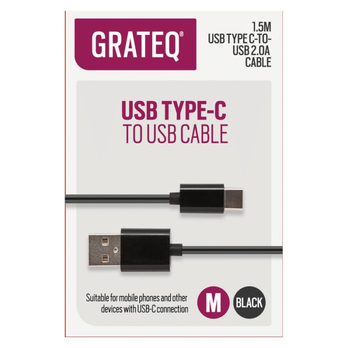 Grateq Micro USB kaapeli 1.5 m - Musta 1