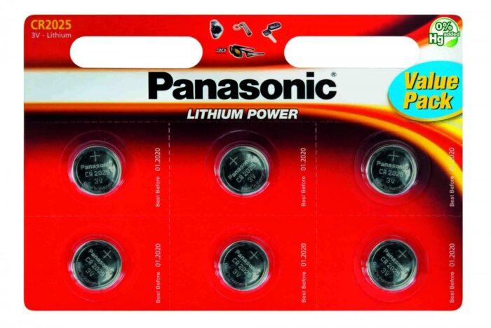 Panasonic CR2025 paristo, 3V lithium , 6kpl 1